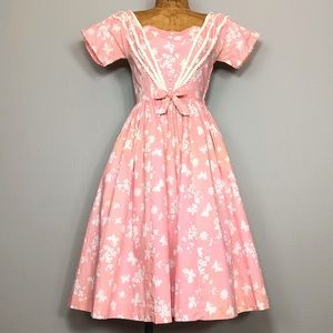 Vintage 50s Lanz Original Cotton Full Skirt Dress